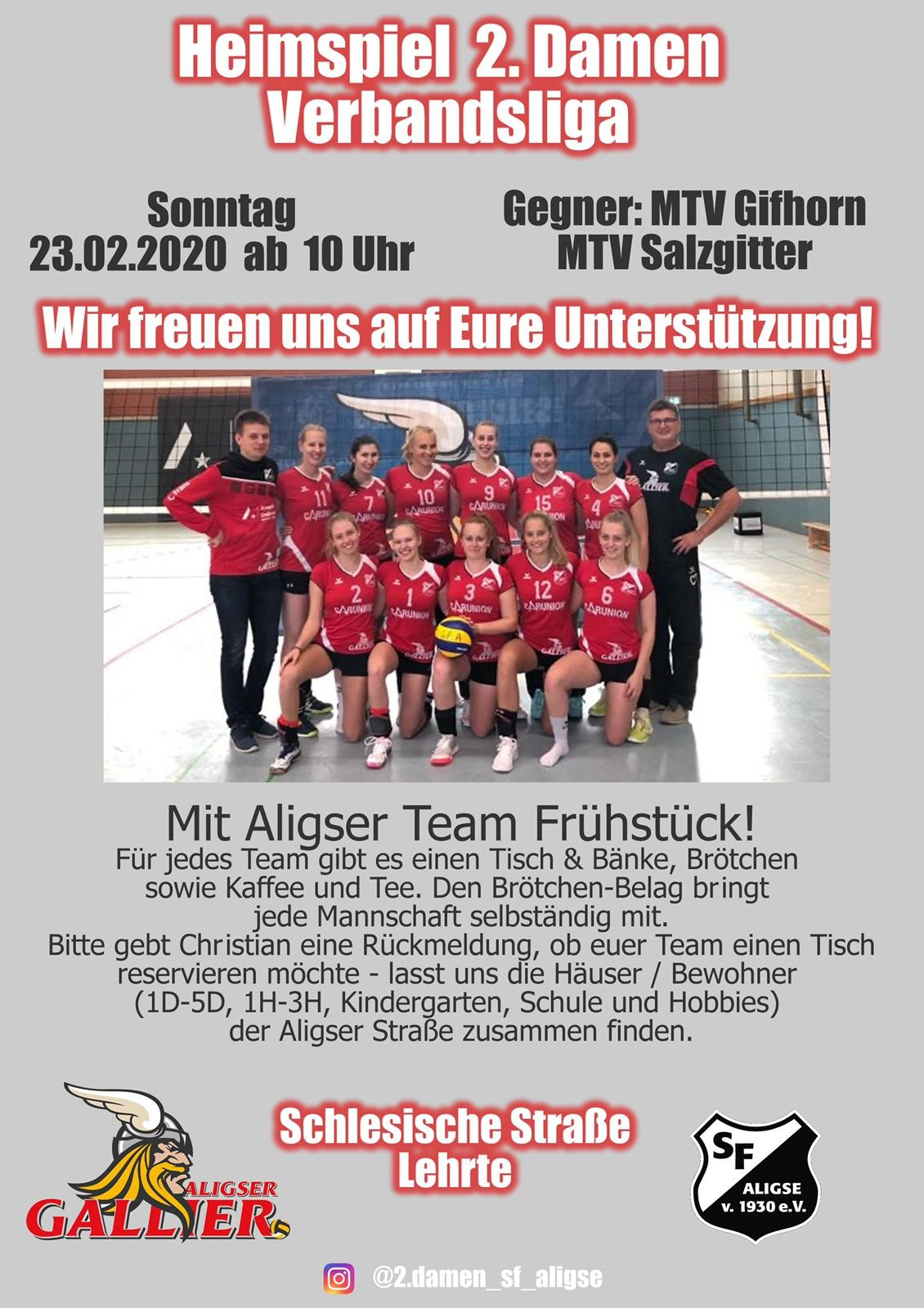 23.02.2020 – Heimspieltag der 2. Damen mit Aligser Team Frühstück